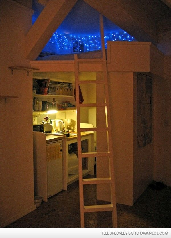I dont care how childish it may seem...I love this. I think I would have a craft area under there instead of a kitchenette, though!! Definitely keeping the mini fridge, however.... :)