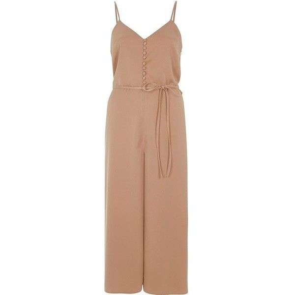 River Island Nude tie waist sleeveless culotte jumpsuit ($40) ❤ liked on Polyvore featuring jumpsuits, nude, playsuits & jumpsuits, sale, women, v-neck camisoles, sleeveless jumpsuit, jump suit, v neck jumpsuit and cropped jumpsuit