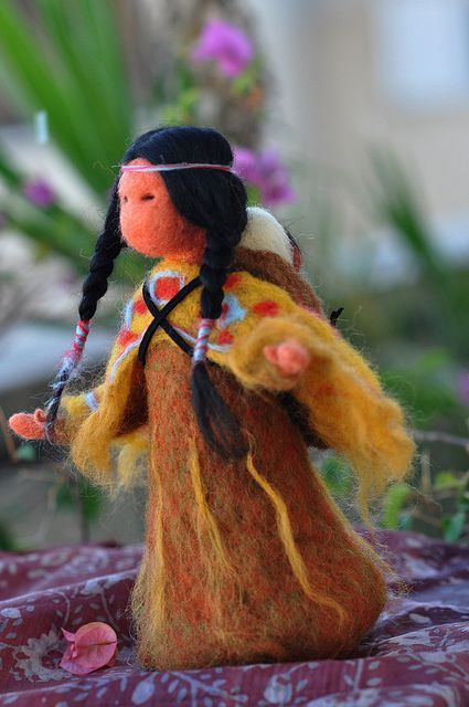 Needle felted Native American-Soft sculpture-Waldorf inspired standing doll by daria.lvovsky,