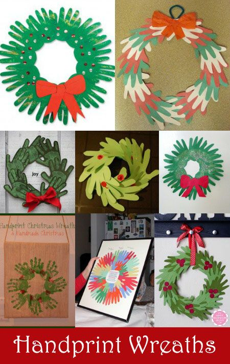 Handprint Wreath Crafts for Kids #HandprintHolidays