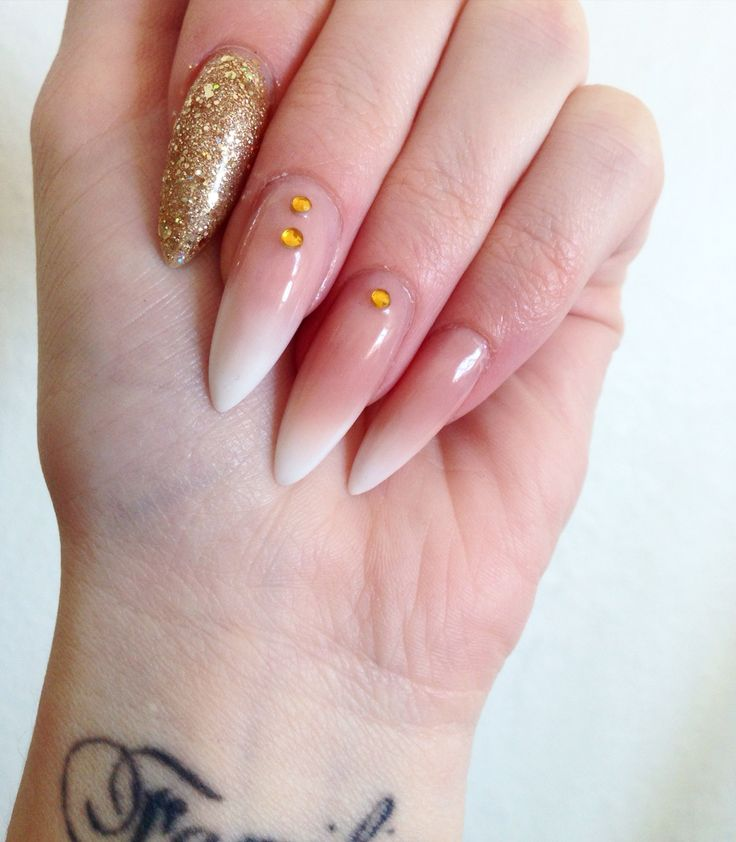 Acrylic french ombre nails with glitter