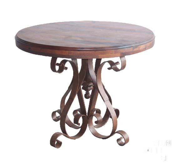 Mesquite And Iron Occasional Table Western Cocktail And End Tables   Hand  Forged Flat Iron Base