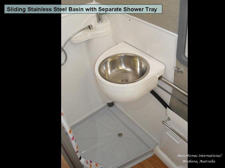 Shower and sliding basin in Columbus Motorhome Australia