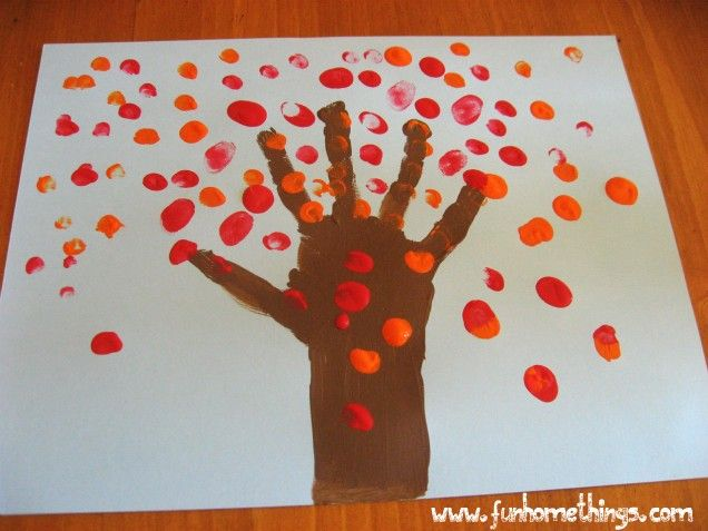 Fall harvest craft for toddlers | Fun Home Things: Fall Crafts for Kids--Handprint Fall Tree