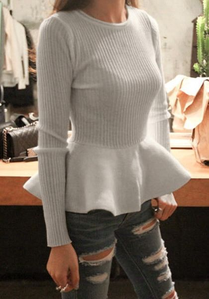 If this grey long sleeve peplum top doesn't turn you into a head turner then we don't know what will.