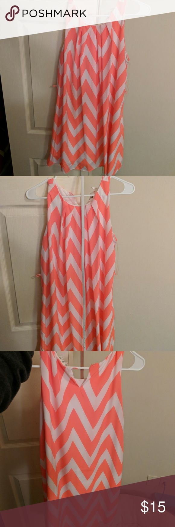 Orange chevron dress 💐 Neon orange. Belt included that goes around waist with dress. Buttons on back closure missing. Easily sewed on Pink Owl Dresses Midi