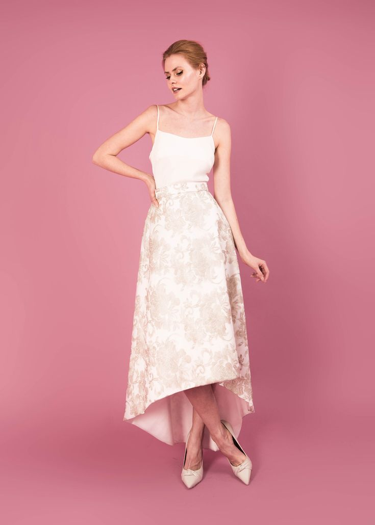 Modern wedding dress for the contemporary bride. Gloria skirt, Cameron top. Metallic flower embroidered skirt. Silk moroccain camisole.