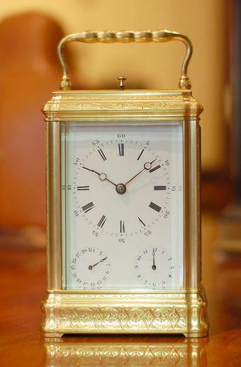 Rare Calendar Carriage clock engraved gorge
