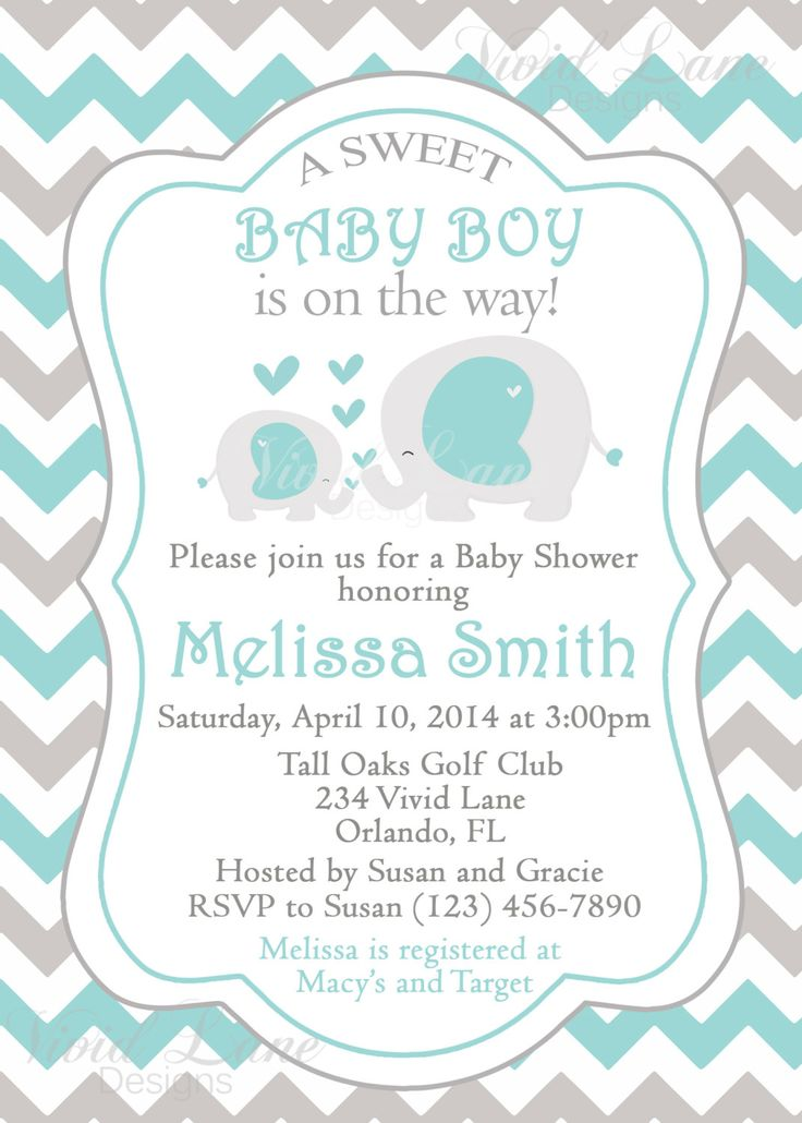Elephants Baby Shower Invitation Printable Boy by VividLaneDesigns, $13.00