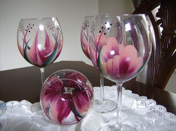 Hand Painted Wine Glass Patterns | Hand Painted Berry Wine/Goblet Glasses by simplethingsbykathy