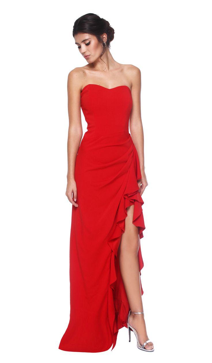 Badgley Mischka Vestido Longo Peplum Vermelho | Chic by Choice | Aluguer de vestidos de Designers Internacionais