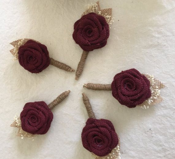Burgundy Boutonnière  Burlap Boutonnieres  by NaturesDoorway