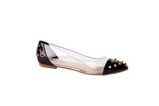 Zapato ballerina transparente negro tachas primavera verano 2013 2014