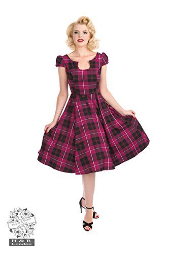 Hearts and Roses London Kleid Tartan Tea Dress Lila Vintage Retro Pinup Abendkleid