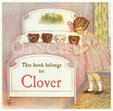 Vintage Goodnight Bears Personalized Bookplates. $15.95, via Etsy. Oiseaux shop