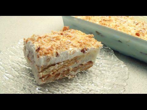 Μιλφέιγ! Γλυκό ψυγείου με κρέμα και σφολιάτα! // Mille feuille recipe with puff pastry cookies - YouTube