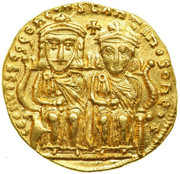 Leo IV, 775-780. Gold Solidus (4.40 g) minted at Constantinople. EF Leo IV and Constantine VI (young son of Leo IV) enthroned, facing; between their heads, cross. Facing busts of Leo III (grandfather of Leo IV) and Constantine V (father of Leo IV); between them, cross and pellet. D.O. 2; S. 1584. Rare. This rare, dynastic solidus was minted during the midst of the iconoclastic controversy. Should there be allowed portrayals of religious figures? Estimated Value $4,000 - 5,000. #Coins #Gold…