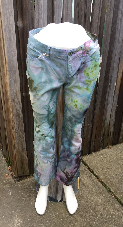Swamp Bloom Shibori Tie Dye Jeans by Sage Luxury
