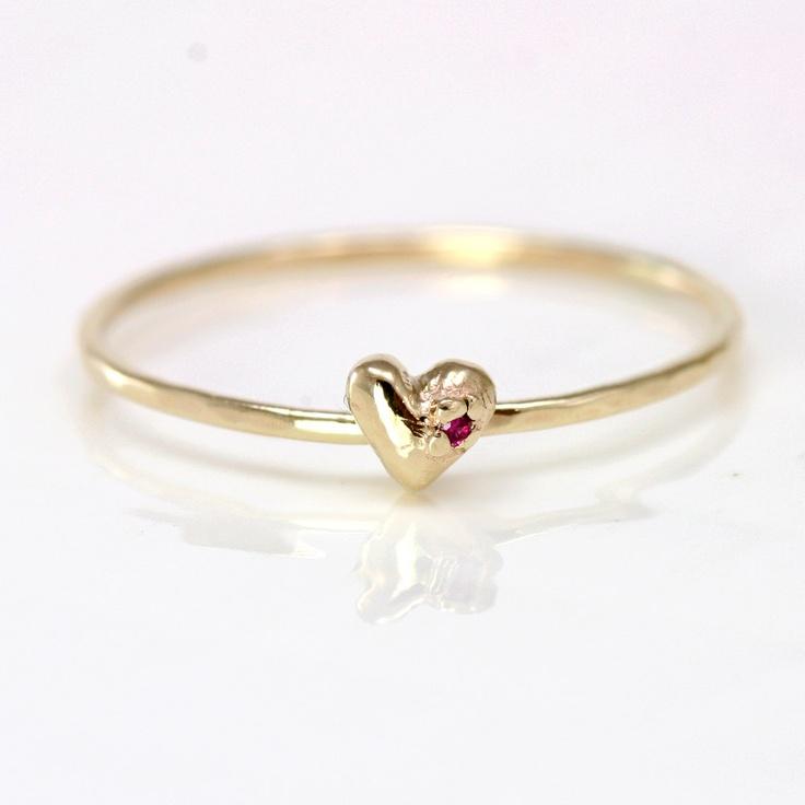 Ruby Heart Ring, 14k Gold Stacking Ring. $218.00, via Etsy.