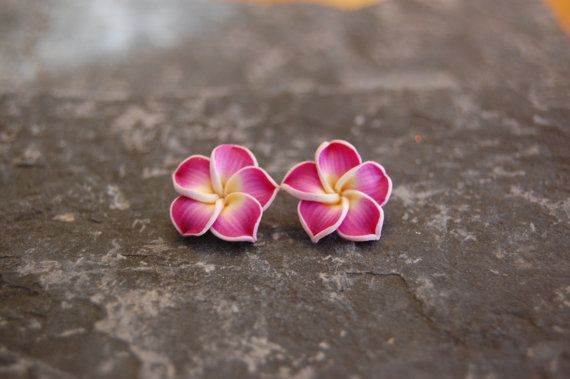 Polymer clay plumeria flower stud earrings by jwcalgary on Etsy, $5.00