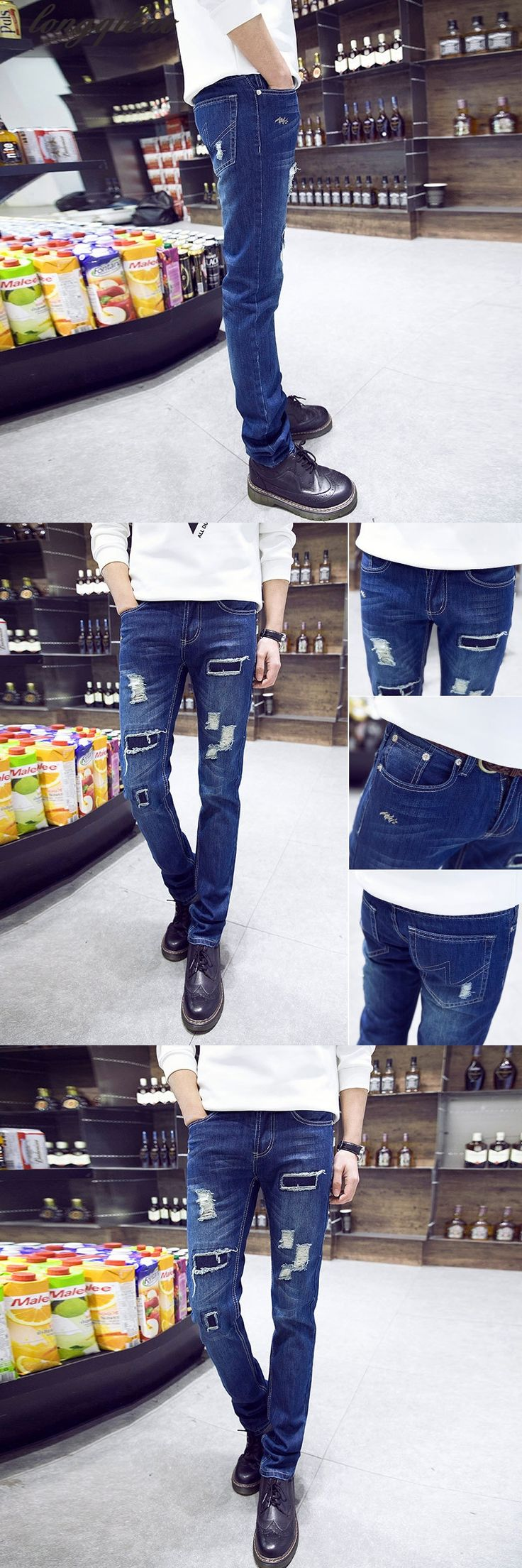 2017 New Fashion Mens Ripped Jeans Famous Brand Skinny Jeans Men High Quality Ripped Jeans For Men Oversized Male Jeans Pants