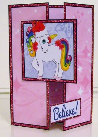 Pink Christmas Unicorn Gatefold by Pam Stubley: I printed onto 200gsm photo paper and cut out all the pieces. I scored and folded as…