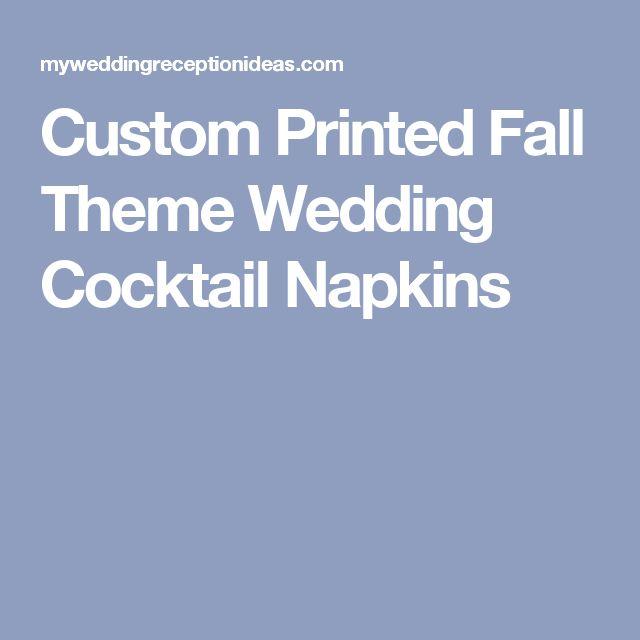 Custom Printed Fall Theme Wedding Cocktail Napkins