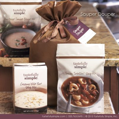 Souper Douper Gift set by Tastefully Simple www.tastefullysimple.com/web/mlong5  Be sure to like my Facebook Fan page for more ideas and recipes at https://www.facebook.com/TSbyMarieLong