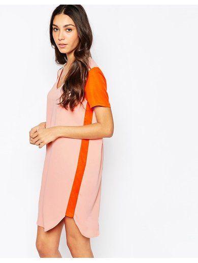 Vila Colourblock Shift Dress - Orange