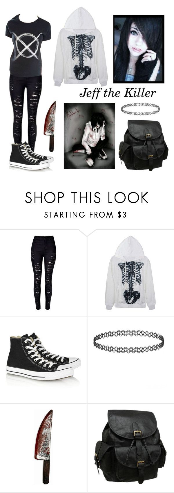 """Jeff the Killer (Girl Style)"" by katieb7 on Polyvore featuring Converse, AmeriLeather, women's clothing, women, female, woman, misses and juniors"