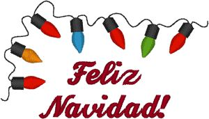 Merry Christmas in Spanish Embroidery Design