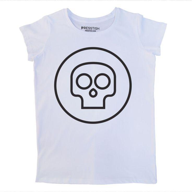 Mini Skull - Beyaz Kadın Tişört