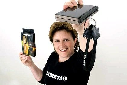 Janene Samuel's invention goes on sale in EBGames stores around the country tomorrow. Gametag DS game case and holder.