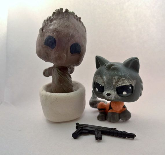 Baby Groot & Rocket Raccoon - Marvel Comics Guardians Galaxy - Super Hero Heroes - OOAK Custom LPS Littlest Pet Shop - Handmade Hand Painted