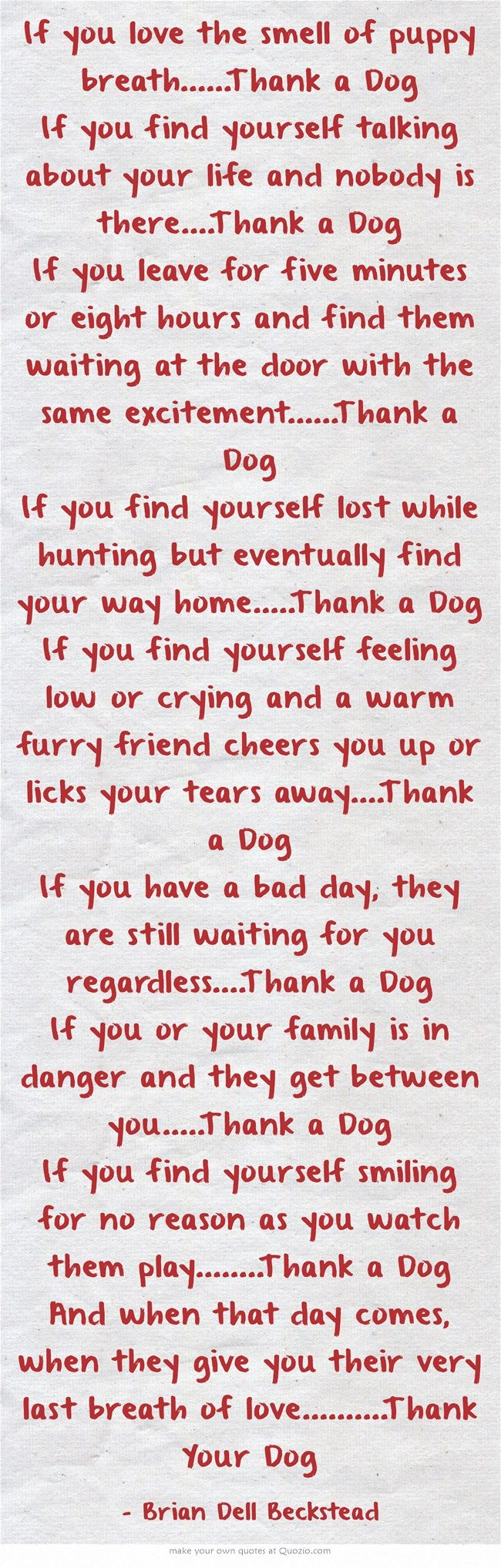 I thank a dog everyday of my life. I also thank God for the fortune of loving and knowing what dogs are all about, which have helped me realized, they are all about love and loyalty and most of the time they know about those two things, better than some humans.