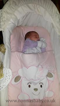 """Little Rosa-Alice sleeps soundly in her Cotton Candy nap mat. She is so cute, and mummy Riana told us """"She wouldn't sleep in her moses basket but now she has her cosy nap mat she is fine in it! Very happy Mummy :)) x"""" Nonna is delighted!"""