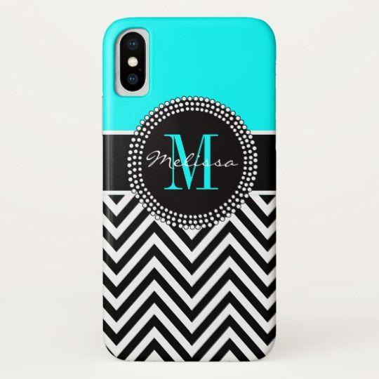 Elegant Girly Aqua and Black Chevron Monogram iPhone X Case (affiliate)