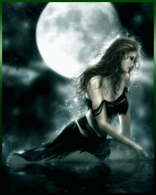 Selene _ Greek. Queen of the starlight heavens, she carries the moon across the sky. She fell in love with a mortal and visited him nightly. She particularly represents the full moon.