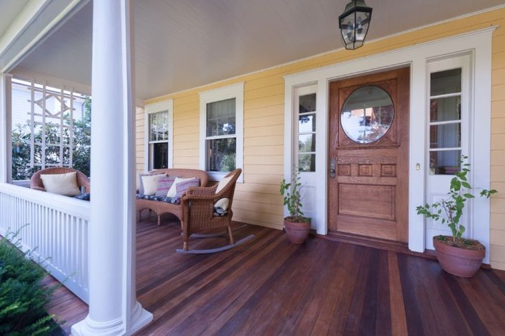 Fabulous front porch! A Lovely Old Lake House For Sale in Connecticut - Hooked on Houses