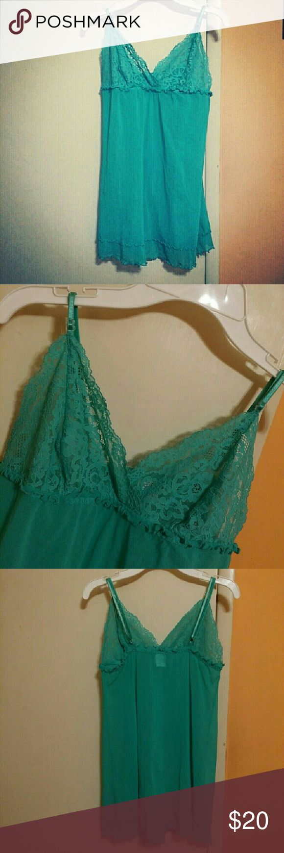 *NWOT!* Hanky Panky Turquoise Lace Nighty!!! Brand new without tags. Beautiful lacey turquoise nighty/slip by Hanky Panky. 100% Authentic. Size Medium. Never worn. Adjustable shoulder straps. Hanky Panky Intimates & Sleepwear Chemises & Slips