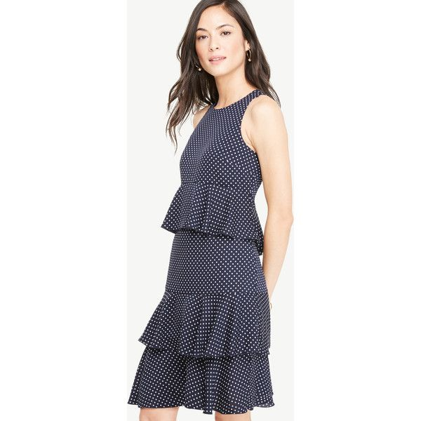 Ann Taylor Petite Polka Dot Tiered Ruffle Dress ($129) ❤ liked on Polyvore featuring dresses, navy blue, navy blue dress, sleeveless cocktail dress, petite dresses, ann taylor cocktail dresses and petite cocktail dress