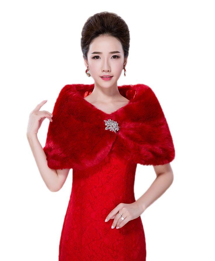 Hot Sale Warm Red Bridal Wraps Faux Fur Wedding Coat Wedding Shrug Shawl/Scarf Bolero with Diamond bolero women faux fur stoles