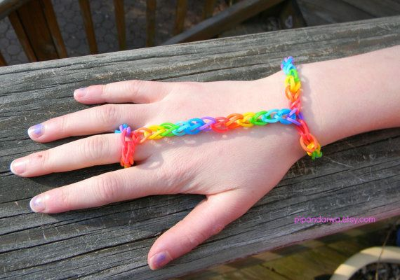Bracelet With Ring Attached Rainbow Loom Bracelet By