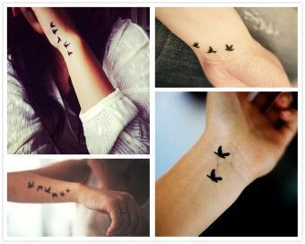 coolTop Watercolor tattoo - 2014 black flying birds watercolor Tattoo design on wrist for girls