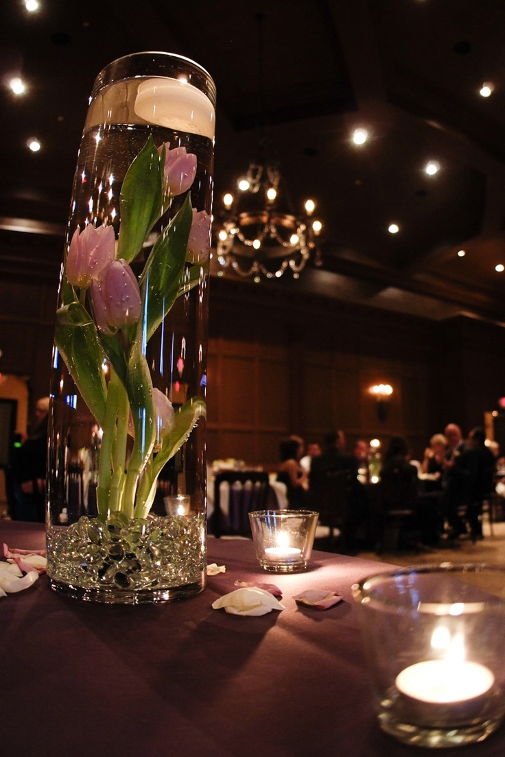 #Pink #Tulips submerged in water #Wedding #centerpiece More wedding ideas at www.facebook.com/villasiena