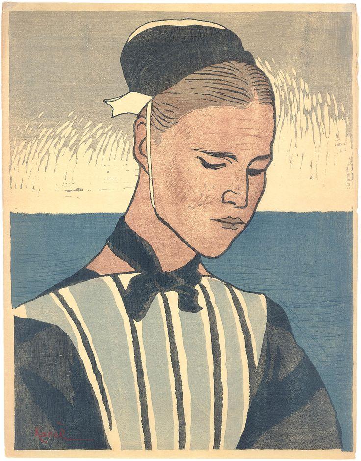 Bretonse / Woman of Brittany  Yamamoto Kanae (1882-1946) Kleurenhoutsnede op papier, 1920 P0360