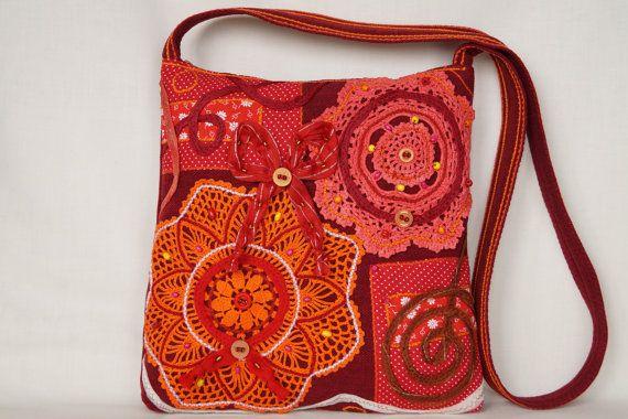 Redorange bag crocheted lace bag medium size bag by bokrisztina