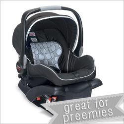 BRITAX B-SAFE Specs: baby size: 4 – 30 pounds / 30 inches seat weight: 9.6 pounds overall dimensions: 17.5W x 24.5H x 27.5D inches FAA approved for air travel