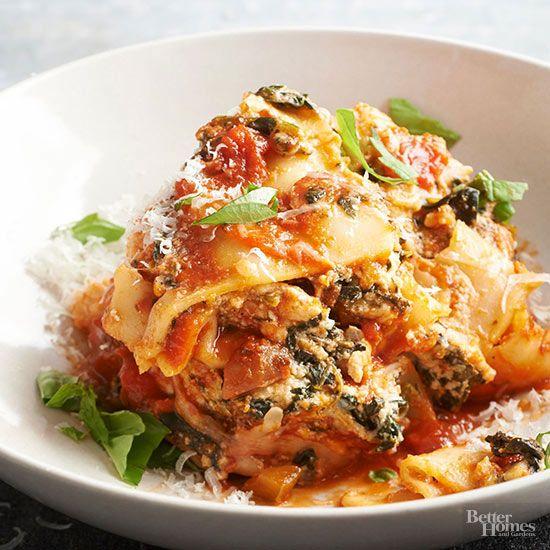 This luscious lasagna showcases classic Italian flavors like oregano, mozzarella, Parmesan, and a chunky tomato pasta sauce.