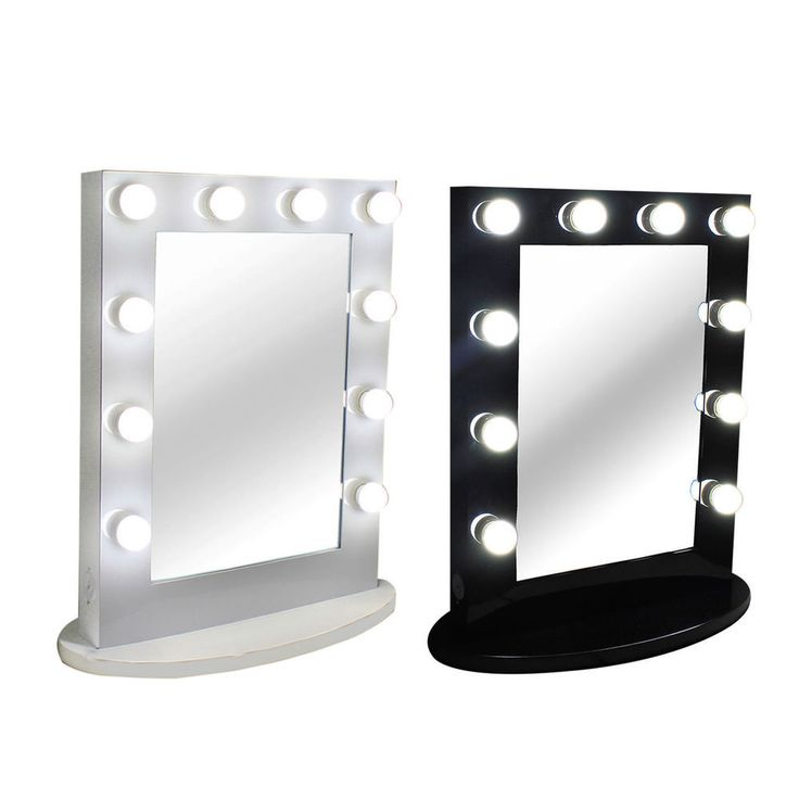 Front on/off rotary dimmer switch. 1PC Hollywood makeup lighted mirror. Hollywood Makeup Mirror. Decorate full size LED globe style bulbs included free. The bulbs are warm white. Hook Metal hook for easy hang the mirror on the wall. | eBay!